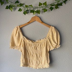 LA Hearts Yellow Striped Ruched Crop Top Small